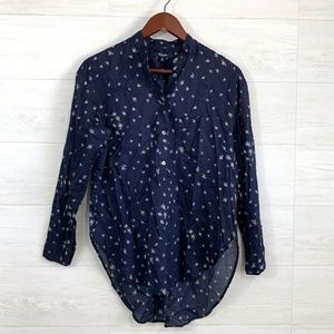 Madewell Navy Floral Button Down Popover Blouse
